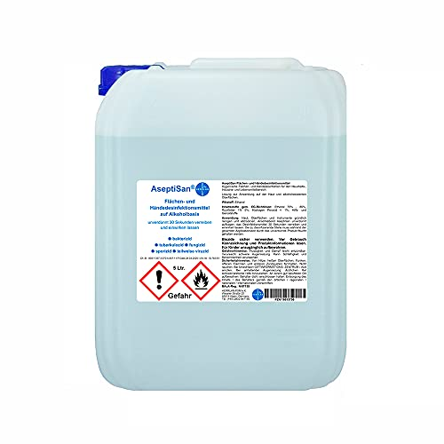 AseptiSan - VAH gelistet - 5 Ltr. Kanister Händedesinfektionsmittel Pharmazentralnummer-16613756 HERRLAN Qualität Made in Germany