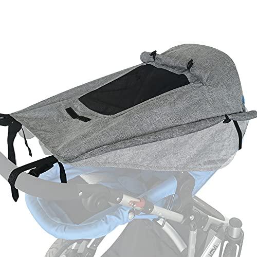 WD&CD Sonnensegel Kinderwagen mit UV Schutz 50+ und Wasserdicht, Double Layer Fabric mit Sichtfenster und extra breite Schattenflügel- Grau