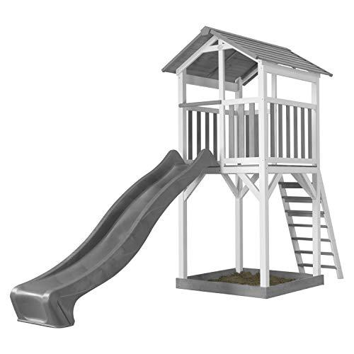 AXI Beach Tower Spielturm aus Holz in Weiß & Grau | Spielhaus für Kinder mit grauer Rutsche und Sandkasten | Stelzenhaus für den Garten