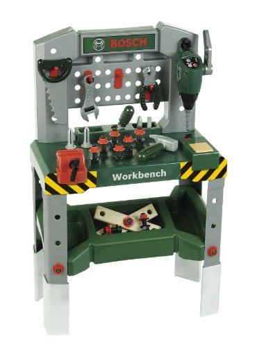 Theo Klein 8637 Bosch Werkbank 48-teilig I Höhenverstellbare Füße, I Arbeitsplatte mit vielen Funktionen und batteriebetriebenen Geräten I Inkl. Hammer, Säge, Rollgabelschlüssel und vielem mehr