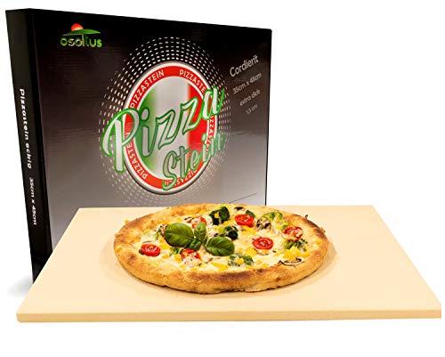 osoltus Profi Pizzastein XXL Cordierit 35cm x 45cm x 1,5cm für Knusperpizza