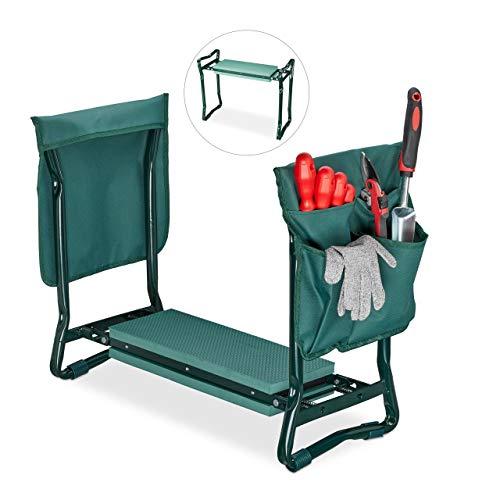 Relaxdays, grün Kniebank, weiches Kniekissen, 2 Taschen, klappbar, Kniehilfe Gartenarbeit, bis 150 kg, HBT 50x60x27,5cm