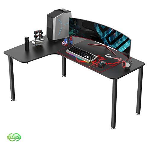 EUREKA ERGONOMIC Gaming Tisch L60 Eckschreibtisch Gaming Büro Schreibtisch L-förmige PC Tisch Gaming Groß Computerecktisch Gamer Tisch 155 * 110 cm Schwarz Links