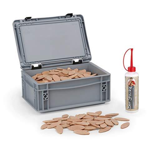 Flachdübel Größe 20 von WFix   500 Stück   Dübel in Aufbewahrungsbox   Inklusive 0,25kg Holzleim   Kompatibel mit Dübelfräse & Lamellofräse
