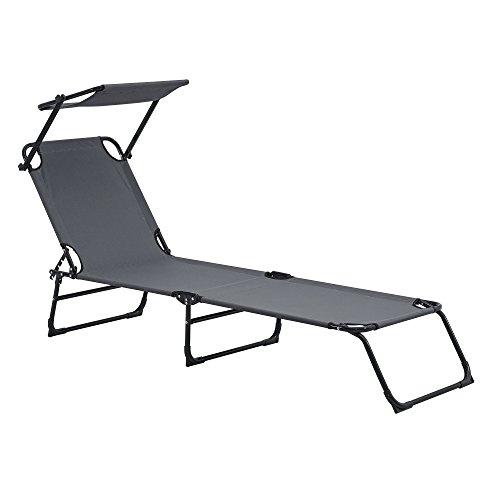 casa.pro Sonnenliege klappbar mit Dach dunkelgrau 190cm Liege aus Stahl Verwendung als Relaxliege Strandliege Gartenliege