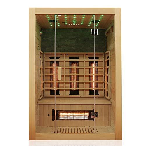 Dewello Infrarotkabine MILTON 135x105 für 1-2 Personen aus Hemlock Holz mit Vollspektrumstrahler