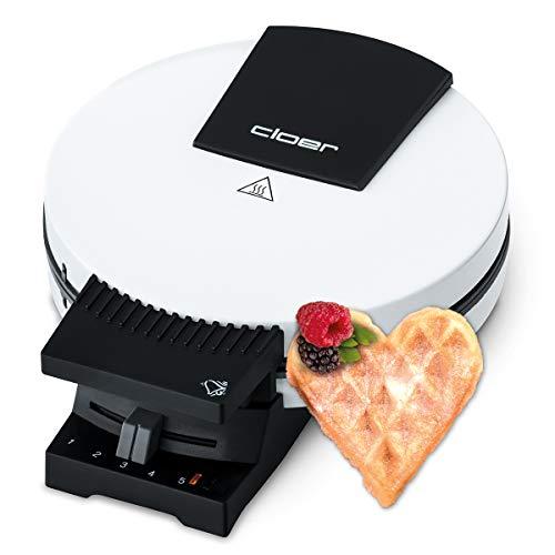 Cloer 181 Waffelautomat für kuchenartige Waffeln / 930 W/Waffelgröße 16 cm/schwere Backplatten/optische und akustische Fertigmeldung, Weiß
