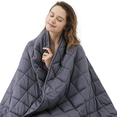 ZZZNEST Therapiedecke Anti Stress, 7.2 kg Gewichtsdecke für Erwachsene und Kinder, Beschwerte Decke aus 100% Baumwolle, Schwere Decke für Angst und Schlafstörungen, 152x203 cm, grau