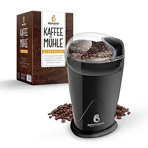 BRANZING Kaffeemühle elektrisch 150W − Leiser Coffee Grinder für Kaffeebohnen, Nüsse, Gewürze, Kräuter, Getreide − 60g Fassungsvermögen, inkl. Pinsel