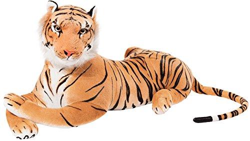 Brubaker XXL Tiger Kuscheltier Braun 110 cm - liegend Stofftier Plüschtier