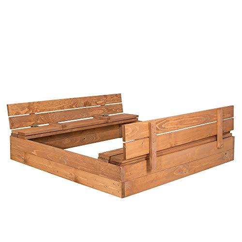 SPRINGOS Sandkasten mit Sitzbank, 120 cm x 120 cm, Abdeckung, Holz, Imprägniert, Kindersandkasten, Spielplatz