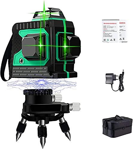 3D Kreuzlinienlase Grün - Laser Level Laserlinie Kreuzlinienlaser 3 x 360 Grüner Laserpegel Selbstausgleichende Strahl 3D 12 Linien IP 54 Staub Wasserschutz Linienlaser Vertikale und Horizontale Linie