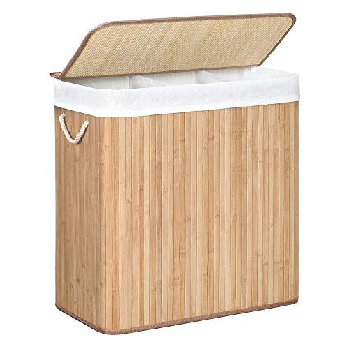 SONGMICS Wäschekorb, Wäschesammler, aus Bambus, Wäschetruhe mit Griffen, 3 Fächern, Deckel mit Clips, 150 L, faltbar, für Waschküche, Schlafzimmer, Bad, naturfarben LCB091N01