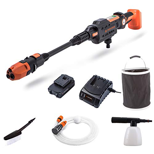 Yard Force AquaJet Akku-Hochdruckreiniger LW C02 für Bewässerung, Reinigung & Desinfektion, 20V / 2,5 Ah, max. 22 bar Druck, Durchflussmenge 180 L/h mit Faltbarer Eimer