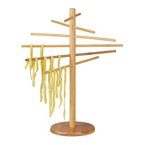 Relaxdays 10022196 Nudeltrockner Bambus, 12 Arme, Nudelständer Faltbar, zum Pasta Trocknen, für Spaghetti, 41cm hoch, Holz, Natur