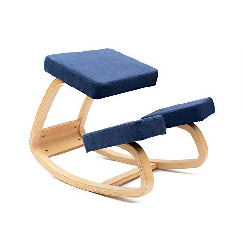JZGORC Ergonomischer Kniestuhl - Kniestuhl mit besserer Haltung - Größerer Sitz, Kniekissen - Robust und bequem - Orthopädischer Hocker (Blau)