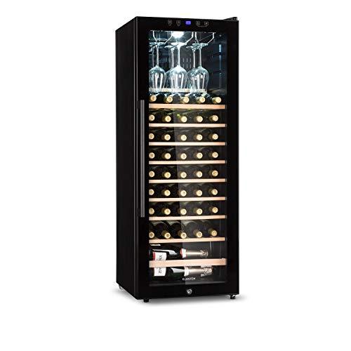 Klarstein Barossa - Weinkühlschrank mit Glastür, Weinkühler, Weintemperierschrank, 5 bis 18°C, leise, LED, Touch, Türanschlag beidseitig, höhenverstellbar, 54 Flaschen, schwarz