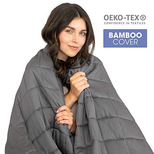 Dreamzie - Gewichtsdecke - Verfügbar für Betten 90 bis 180 - Für Erwachsene und Kinder von 17 bis 115 kg - Außenstoff 100% Bambus - Oeko-TEX®
