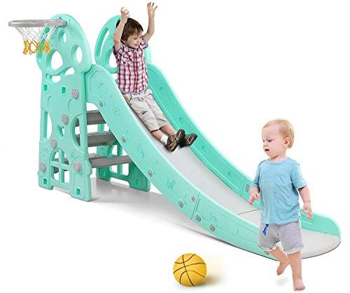 Bamny Rutsche Kinder, Fun-Slide mit Basketballkorb, für drinnen und draußen, standfest und sicher (bis 25Kg)