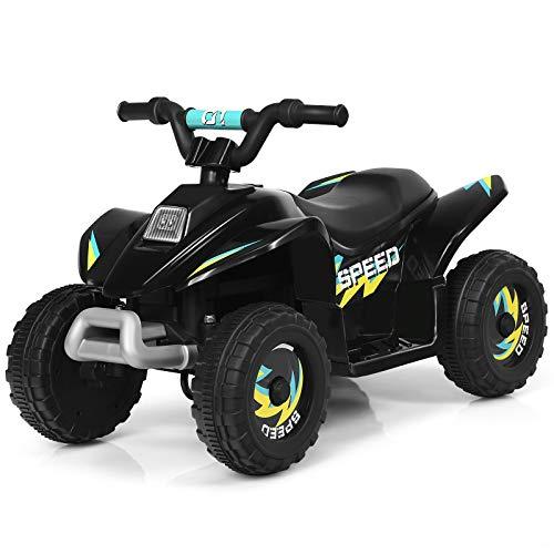 COSTWAY 6V Elektro Kinderquad 2,8-4,6 km/h, Mini Elektroquad, Kinderauto, Kindermotorrad, Kinder Quad, Elektroauto für Kinder ab 3 Jahren (Schwarz)