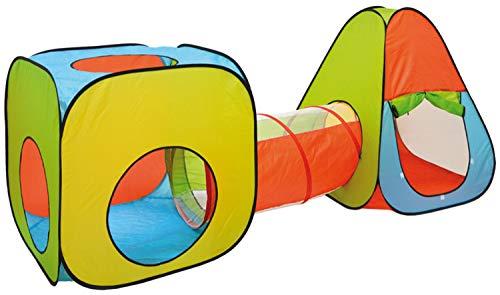 LittleTom Bällebad Spielzelt Set - 260x90x100cm Popup Spielhaus Kinder Zelt Tunnel