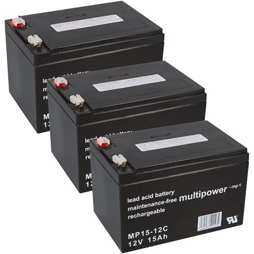 WSB Battery Akkusatz 36V Akkupack für Elektro Scooter 3X 12V 15Ah AKKU Batterie 36V Anaconda Miniquad ATV Kinderquad