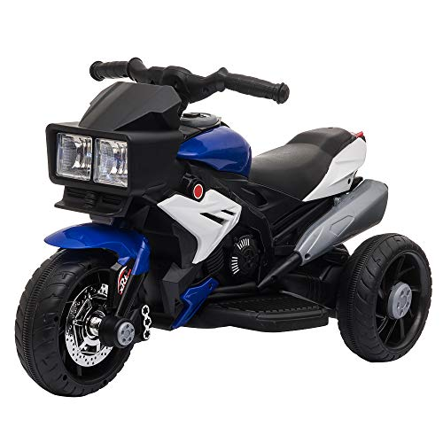 HOMCOM Elektrofahrzeug Kindermotorrad Kinderfahrzeug mit Musik und Beleuchtung Elektro-Dreirad mit Akku 3-8 Jahre Stahl Blau+Weiß 86x42x52 cm