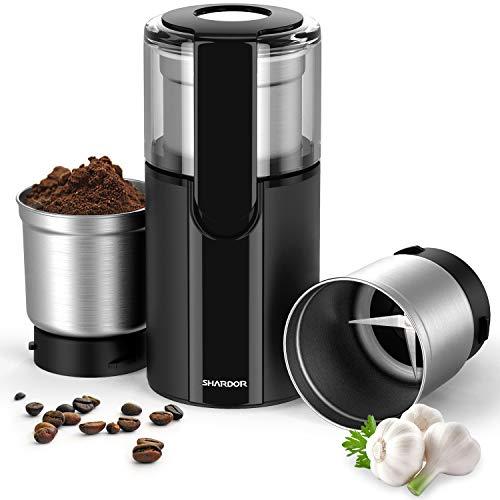 SHARDOR Elektrische Kaffeemühle Gewürzmühle mit 2 Abnehmbare 70g Edelstahlbehälter für Kaffeebohnen Nüsse Gewürze Getreide Mühle Schwarz