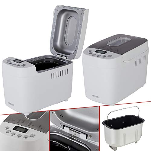AREBOS Brotbackautomat 1500g | mit 15 Programmen | 2 Knethaken | Timer | LCD Display | 3 Bräunungsgrade und Brotgrößen | 850 W