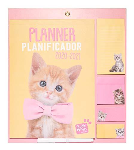 Erik Magnetischer Familienplaner Studio Pets Katze - Kalender 2021 mit Selbstklebenden Notizzettel - Wandkalender