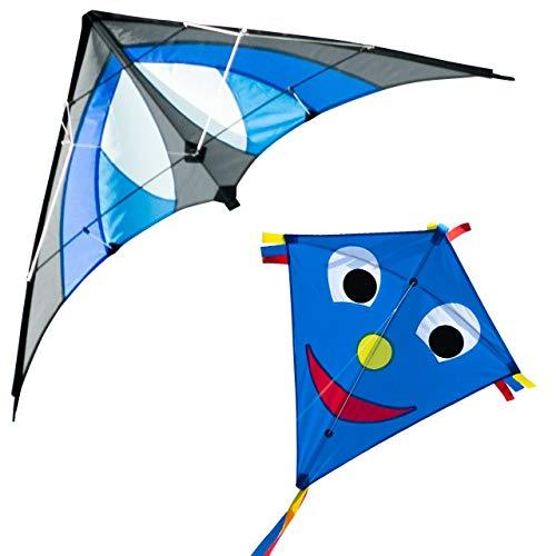 CIM Drachenset Blue - Shuriken MUSTHAVE Blue Sky & Happy Eddy Blue - komplett flugfertig - ideal für Familienausflüge und gemeinsame Aktivitäten