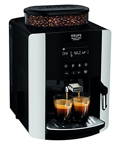 Krups EA8178 Arabica Display Quattro Force Kaffeevollautomat (1450 Watt, Wassertankkapazität: 1,8l, Pumpendruck: 15 Bar, LCD-Display) schwarz/carbon-optik
