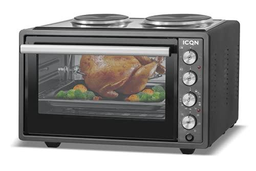 ICQN 42 Liter Minibackofen mit Kochplatten   3800 W   Umluft   Pizza-Ofen   Doppelverglasung   Drehspieß   inkl. Backblech Set   Elektrischer Mini Ofen   40°-230°C   Emailliert   Anthrazit