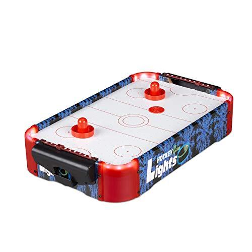 Relaxdays 10024098 Airhockey Tischspiel, Profi Lufthockey mit LED-Beleuchtung, mit Gebläse, inklusive Zubehör, Tischhockey, bunt