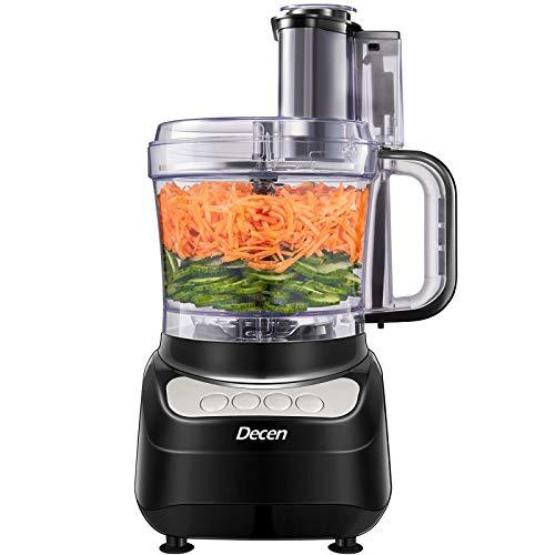 Küchenmaschine, Decen 2L Food Processor, 4 Geschwindigkeit Elektrische Reibe, Fleisch Zerkleinerer inkl Knethaken, Gemüse Elektrisch und Umrühren, Hacken, Schneiden, Würfeln, Kneten
