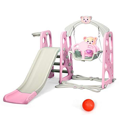 DREAMADE 3 in 1 Kinder Spielplatz, Kinderschaukel & Kinderrutsche Set mit Basketballkorb, Spielturm mit Rutsche und Schaukel für Indoor und Outdoor, Für Kinder 1 bis 5 Jahren (Pink)