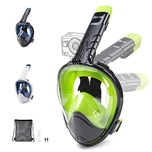 Glymnis Tauchmaske Schnorchelmaske Faltbare Vollmaske mit 180° Sichtfeld und Action Kamerahalterung Anti-Fog und Anti-Leck für Erwachsene und Kinder (Schwarz/Hellgrün, S/M)