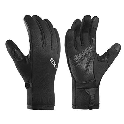 EXski Winterhandschuhe Laufhandschuhe Herren Damen Winter Fahrrad Handschuhe Touchscreen Handschuhe rutschfest Fahrradhandschuhe Schwarz L
