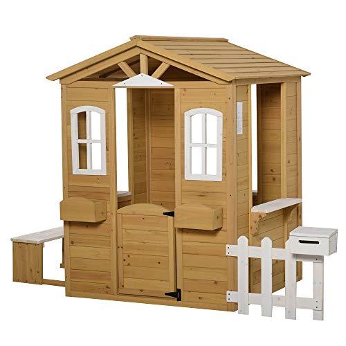 Outsunny Kinderspielhaus mit Fenster Briefkasten Outdoor Gartenspielhaus mit Blumentopfrack Zaun Bank Holzspielhaus Tannenholz Natur+Weiß 204 x 107 x 140 cm
