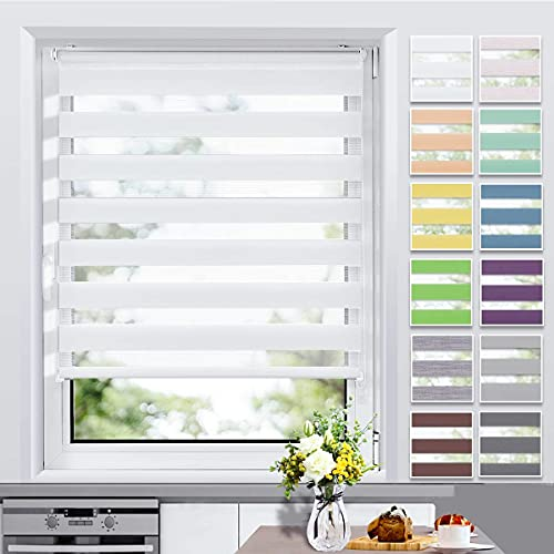 Allesin Doppelrollo Klemmfix ohne Bohren & mit Bohren, (50x150cm Weiß), Duo Rollos für Fenster und Tür, Klemmrollo Fensterrollo lichtdurchlässig und verdunkelnd, Sichtschutz und Sonnenschutz