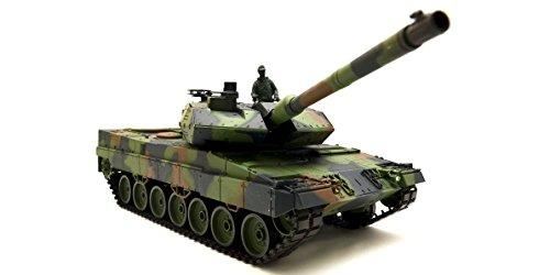Ferngesteuerter Panzer mit Schussfunktion 'German Leopard 2A6' Heng Long 1:16 mit Rauch&Sound und Metallgetriebe -2,4Ghz -V6.0