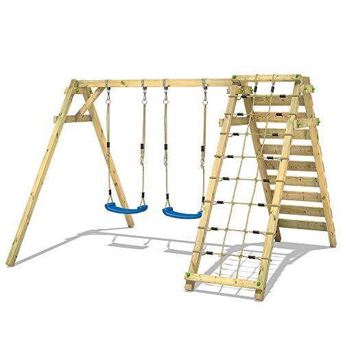 WICKEY Kinderschaukel Schaukelgestell Smart Cliff - Schaukel, Schaukelgerüst, Doppelschaukel, Holzschaukel mit Kletteranbau