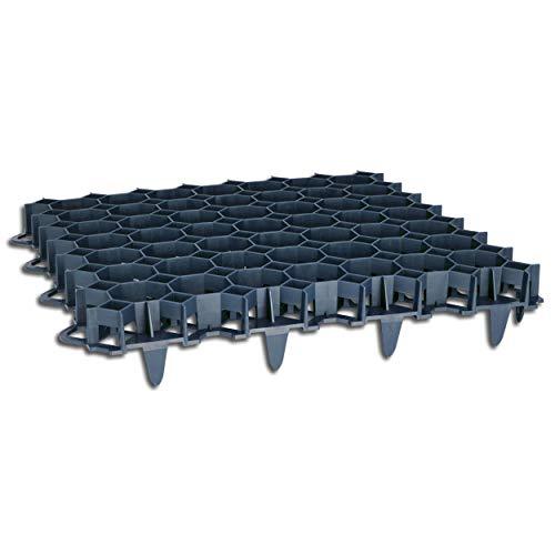 Wohnkult 10 Stück Rasengitter aus Kunststoff schwarz 50 x 50 x 4 cm Rasengitterplatten Rasenwaben Bodenwaben Paddockplatten