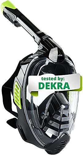 Khroom® Von DEKRA® geprüfte CO2 sichere Schnorchelmaske Vollmaske   bekannt aus YouTube   Seaview X - Tauchmaske für Erwachsene und Kinder. (Schwarz, L/XL)