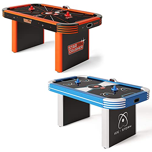 Sportime LED-Airhockey-Tisch 5,5 ft   LED Pucks und Pusher   Starkes Gebläse   Elektrozähler   Ice Storm Blau   Mit Sound   High-Speed Oberfläche   Inkl. USB Ladekabel