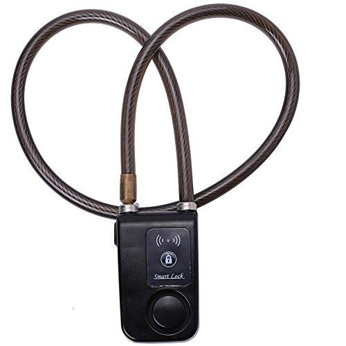 VGEBY Fahrradschloss Handy App Smart Bluetooth Fahrradschloss Radschloss für Fahrrad Anti Diebstahl 110dB Alarm wasserdichte Schloss Lock für IOS Android Smartphone (Farbe : Schwarz)