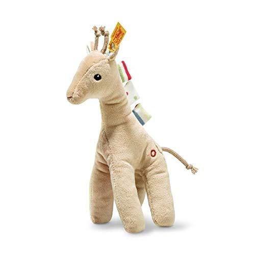 Steiff 242083 Tulu Giraffe, Plüschgiraffe mit Quietsche 20 cm, Wild Sweeties, waschbar, beige