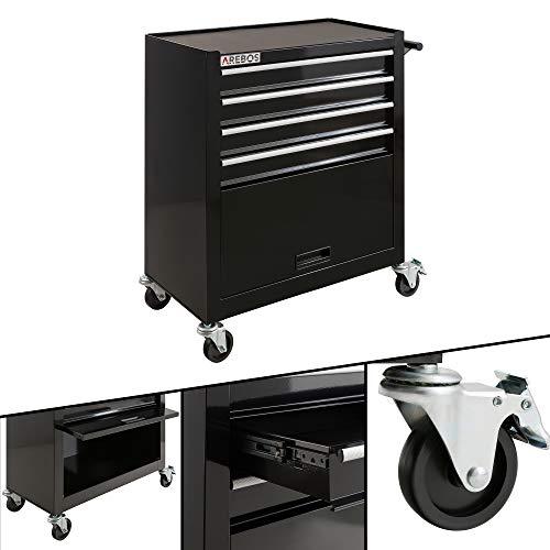 Arebos Werkstattwagen 4 Fächer + großes Fach für Ihr Werkzeug | inkl. Antirutschmatten | 2 Rollen mit Feststellbremse (Schwarz)