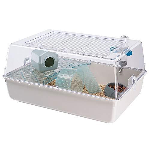 Ferplast Kunststoffkäfig für Hamster und Mäuse Mini Duna Hamster Zweistöckiger kleiner Käfig, Lüftungsgitter, Transparentes Dach, Zubehör inklusive, aus weiß lackiertem Metall, 55 x 39 x 27 cm