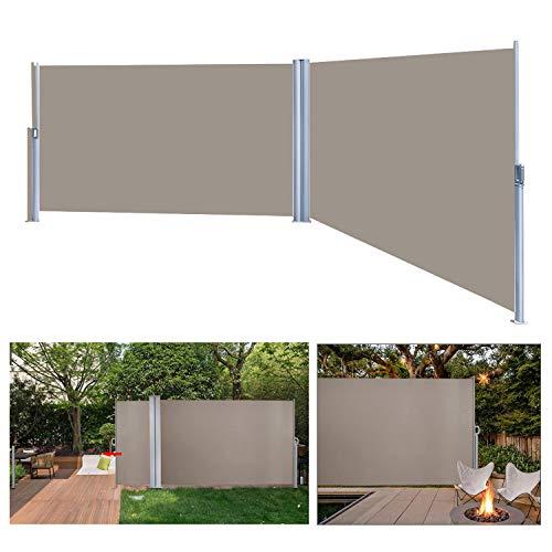 VINGO 180 x 600 cm Doppelseitenmarkise ausziehbar Brau Seitenmarkise TÜV,Reißfestigkeit,seitlicher Sichtschutz sichtschutz,geprüft UV,für Balkon Terrasse ausziehbare markise